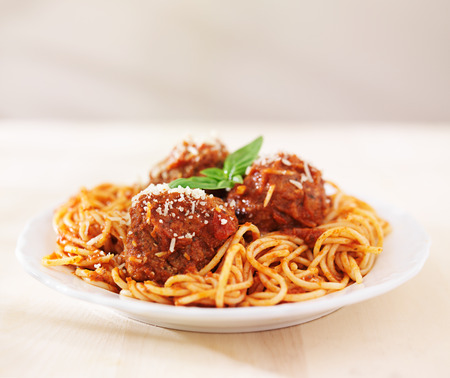 spaghetti and meatballs with copyspace photo