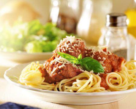 italian food - spaghetti and meatballs photo