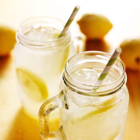 cold water: homemade lemonade in mason jars