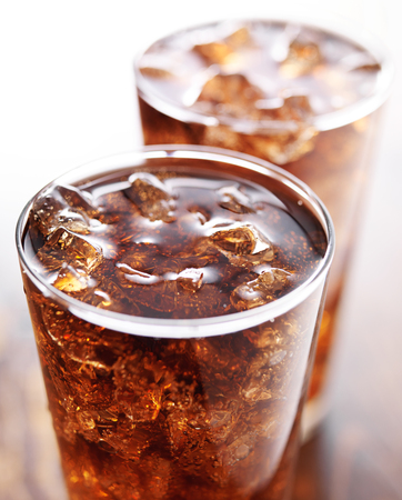 carbonation: two glasses of cola soft drink Stock Photo