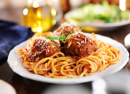 spaghetti and meatballs dinner photo