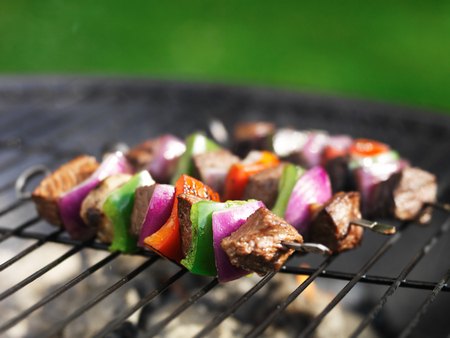 shishkabab: cooking steak kababs on grill