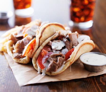 gyros: greek gyros with tzatziki sauce and fries Stock Photo