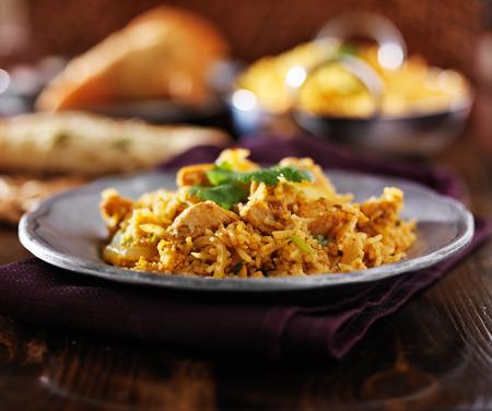 comida: indio comida - biryana pollo en la placa de metal