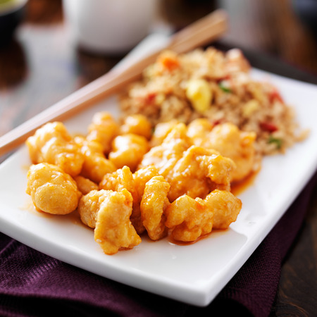 oriental cuisine: chinese chicken with fried rice