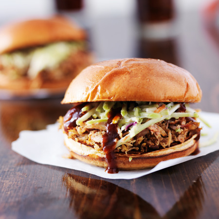 two pulled pork barbecue sandwiches photo