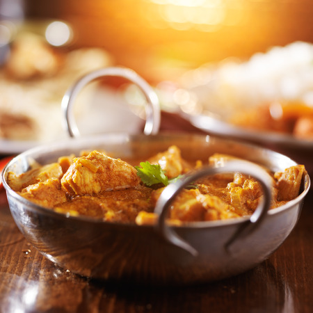 spicy chicken: indian butter chicken curry with basmati rice