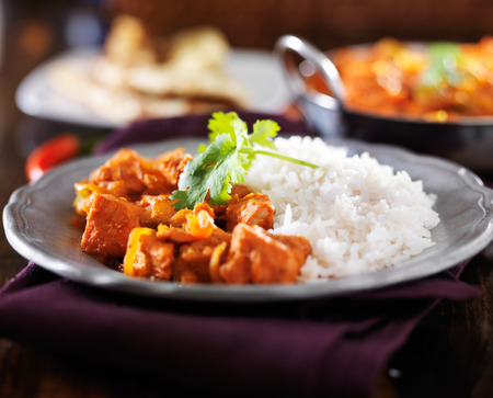 india food: indian chicken vindaloo curry with basmati rice on plate