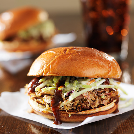 cole: pulled pork sandwiches with bbq sauce and cole slaw Stock Photo