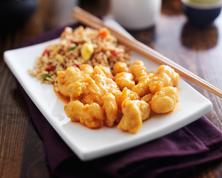 asian foods: chinese orange chicken with fried rice Stock Photo
