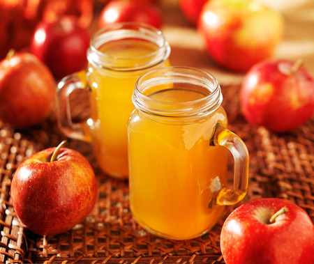 hot apple cider in mason jars Stock Photo