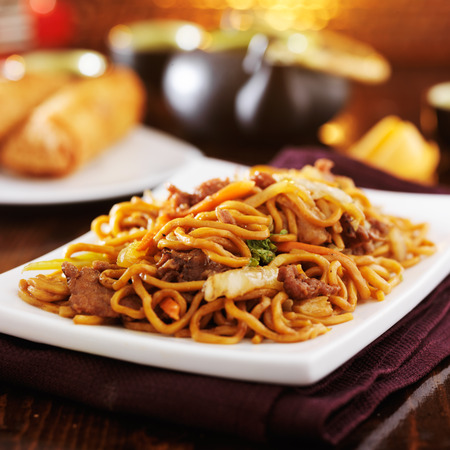 lo mein: chinese beef lo mein on plate