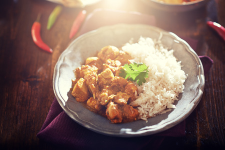 india food: indian butter chicken curry with basmati rice