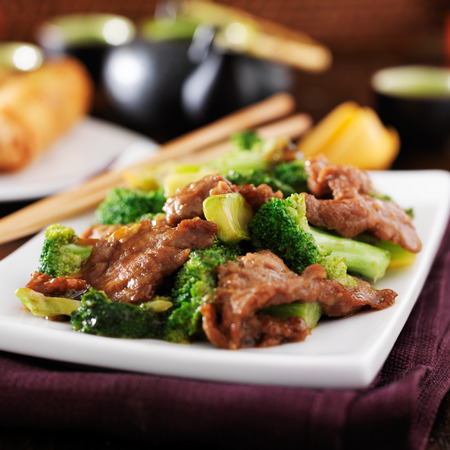 asia food: chinese beef and broccoli  stir fry Stock Photo