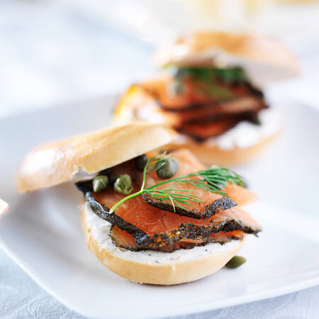 capers: bagel with salmon, cream cheese, dill, and capers