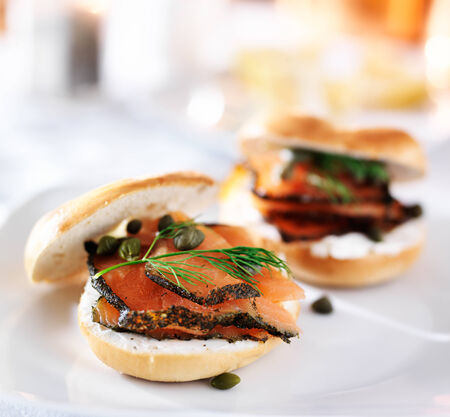 pink salmon: bagels with cream cheese and salmon