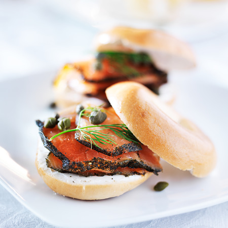 sandwich spread: bagel with salmon, cream cheese, dill, and capers