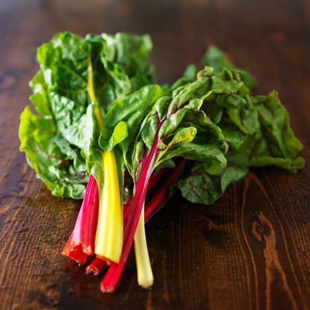 rustic food: bunch of fresh rainbow chard Stock Photo