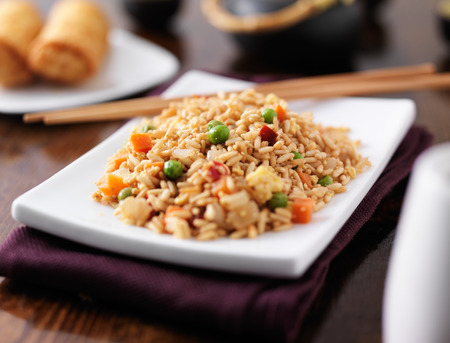 close up food: plate of chinese fried rice