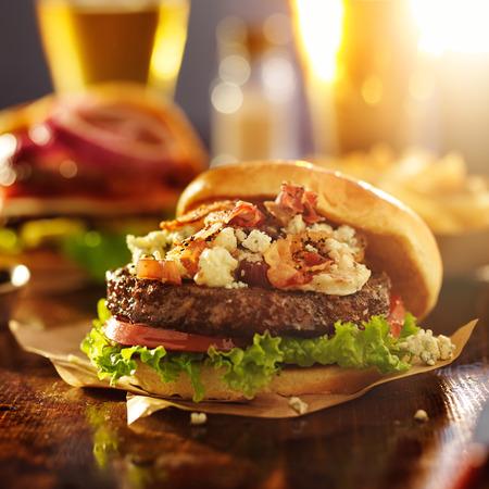 gourmet hamburger with bleu cheese and bacon photo