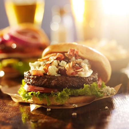 bacon and bleu cheese gourmet hamburger with beer Stock Photo - 32754324
