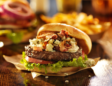 gourmet bacon and bleu cheese burgers photo