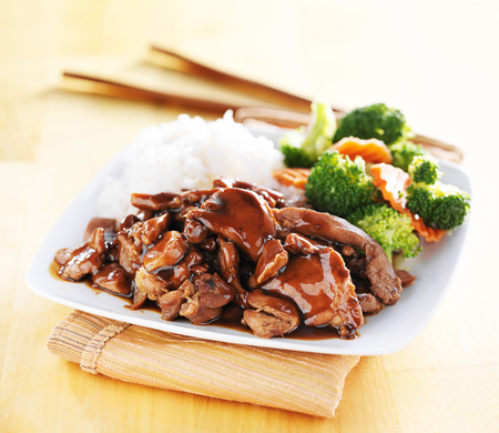 chicken rice: japanese chicken teriyaki with rice and vegetables