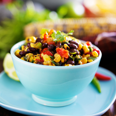dipping: mexican fire roasted corn and black bean salsa Stock Photo