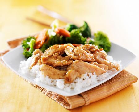 pollo teriyaki y verduras plato Foto de archivo