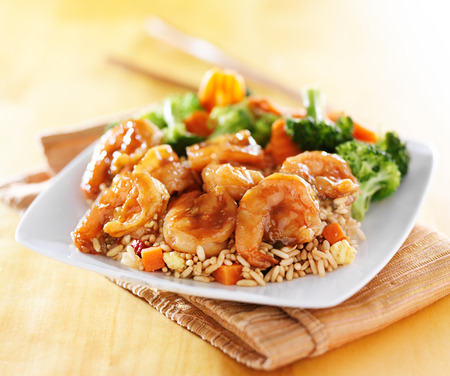shrimp and fried rice teriyaki dish