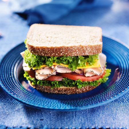 青い皿の上トルコ デリ肉サンドイッチ