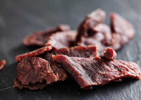 pile of beef jerky shot with selective focus 版權商用圖片