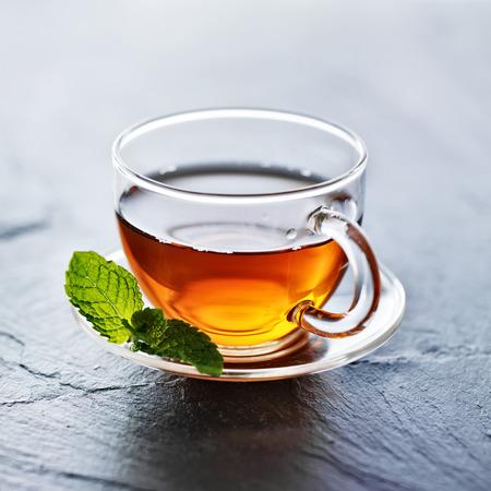 garnish: glass of hot tea with mint garnish