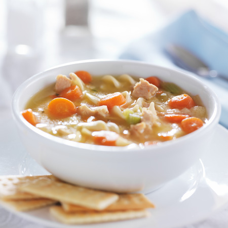 chicken noodle soup: hot bowl of chicken noodle soup