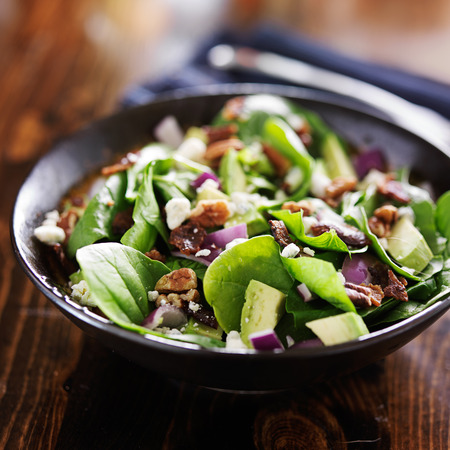 pecans: avocado spinach salad with feta cheese, pecans and bacon