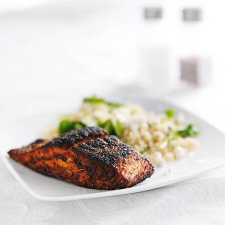 salmon filet: salmon filet with quinoa and arugala