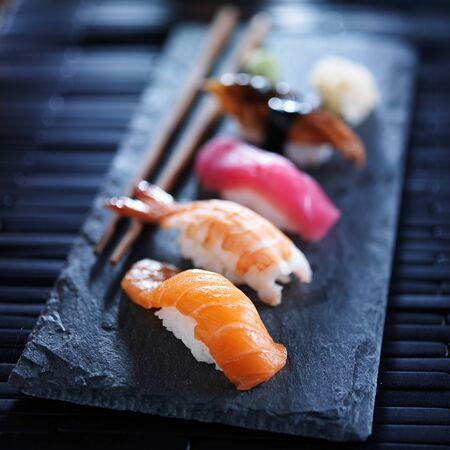 nigiri: assorted sushi nigiri on slate