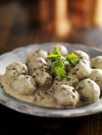 swedish meatballs with parlsey on plate