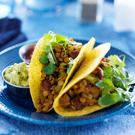 vegan lentil tacos with cilantro and gaucamole on the side 스톡 콘텐츠