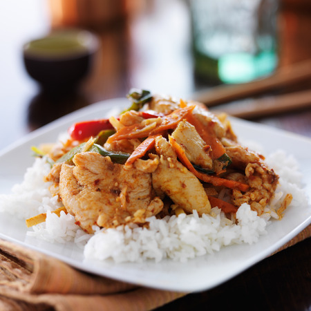 chicken rice: thai red curry with chicken and rice