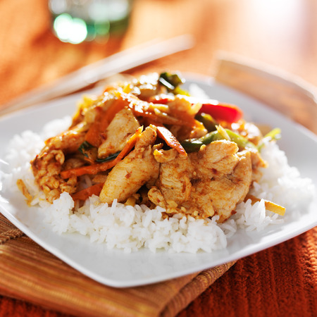 asian foods: spicy thai panang chicken red curry