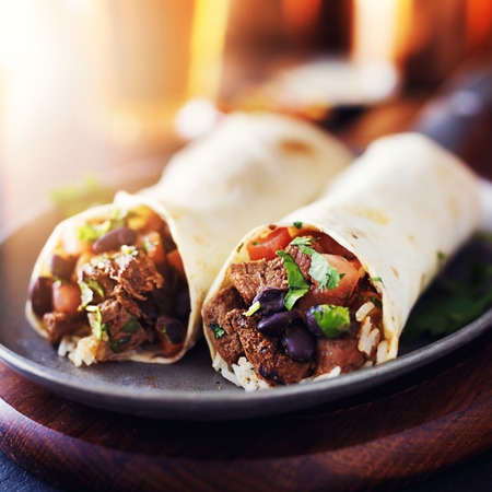 burrito: mexican beef steak burritos with black beans, rice, and salsa