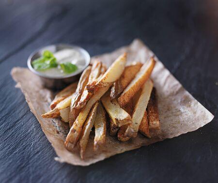 potato fries with mint dip on the side Reklamní fotografie - 36930449
