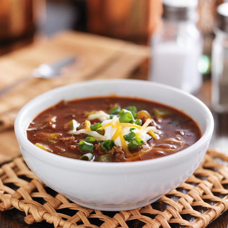 chili with sour cream and cheese Stock fotó