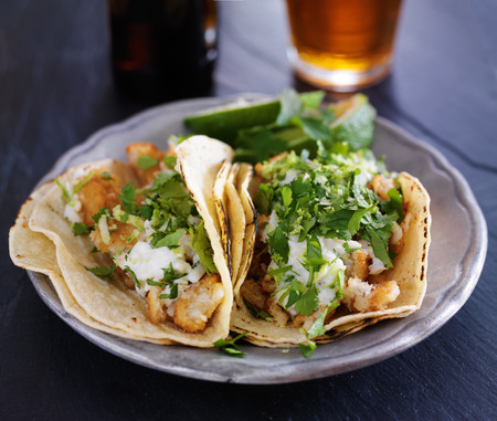tacos: fish tacos with slaw, lemon zest and cilantro