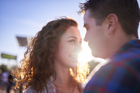 romantic couple: lovely romantic couple flirting with each other Stock Photo