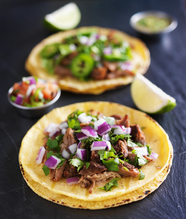 mexican: authentic mexican tacos with carnitas and barbacoa
