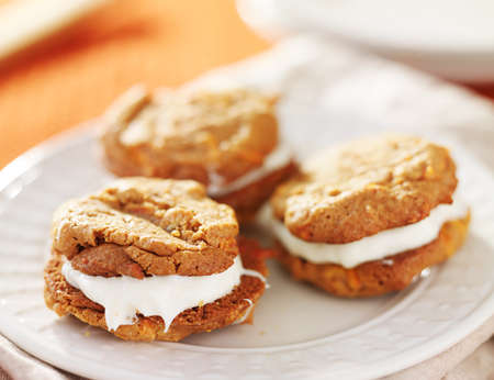 carrot cake: cream filled carrot cake cookies