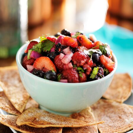 chips and salsa: berry salsa with sweet tortilla chips