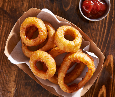 close up food: basket of onion rings shot from top overhead view
